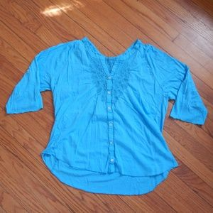 Blue Embroidered Peasant Blouse Sz XXL